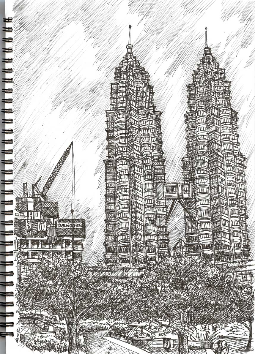 Drawing Ii Petronas Twin Towers