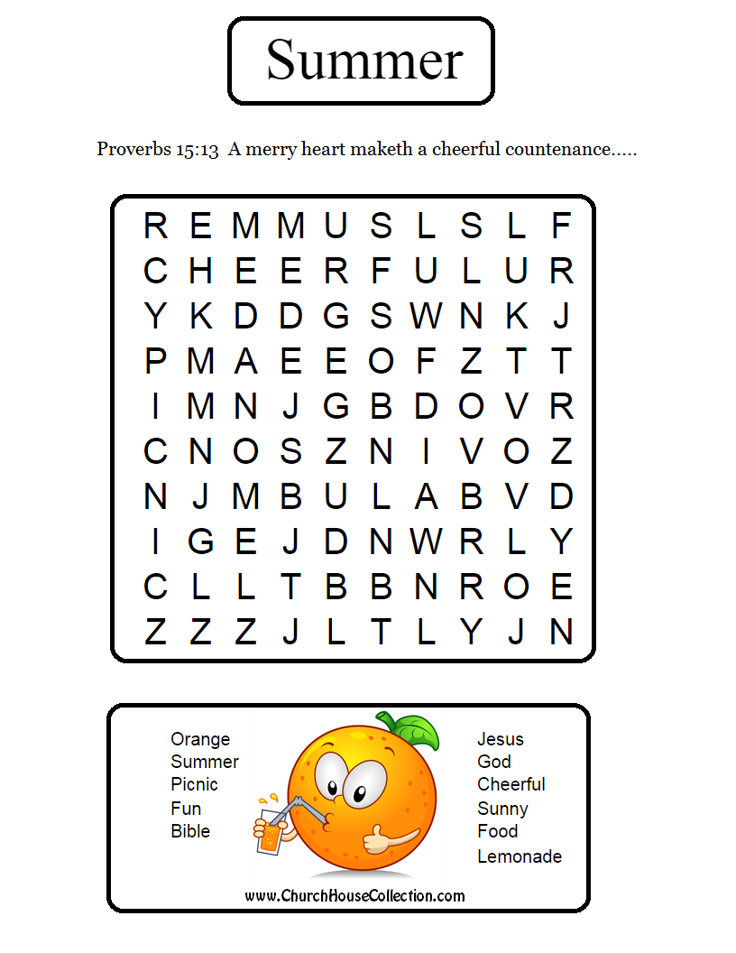 Word search just print this out and let the kids find the hidden words