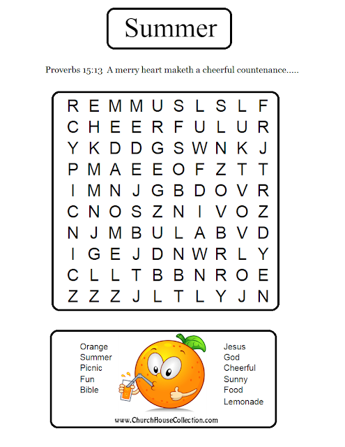 Orange Summer Word Search For Sunday School Kids