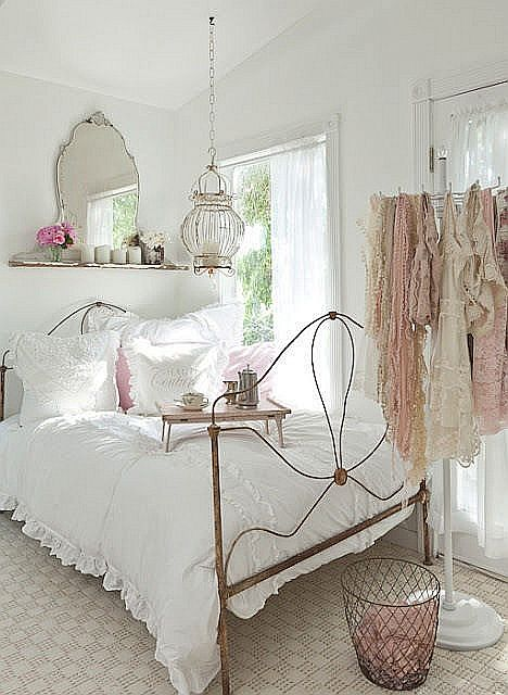 House home garden shabby chic bedroom - Cortinas vintage dormitorio ...
