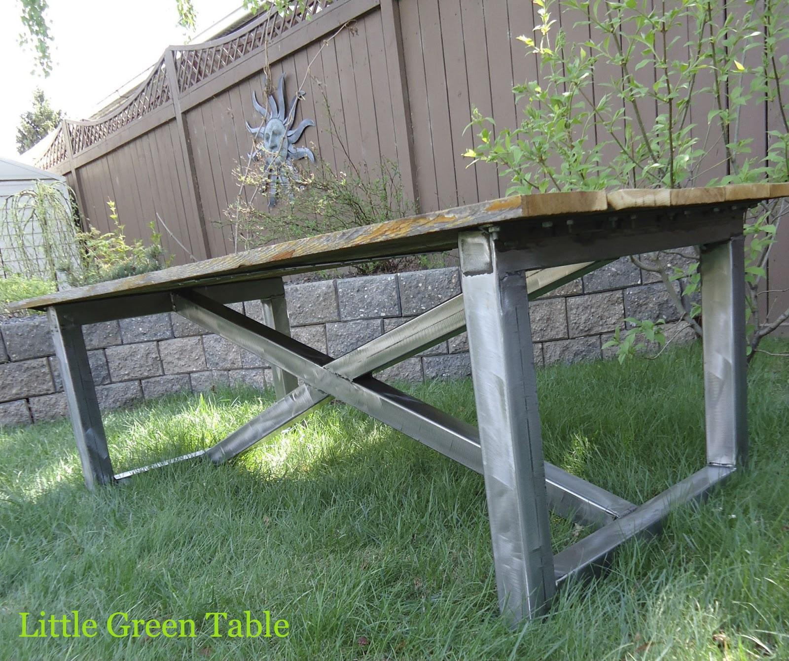Weathered Cedar And Fabricated Metal Coffee Table