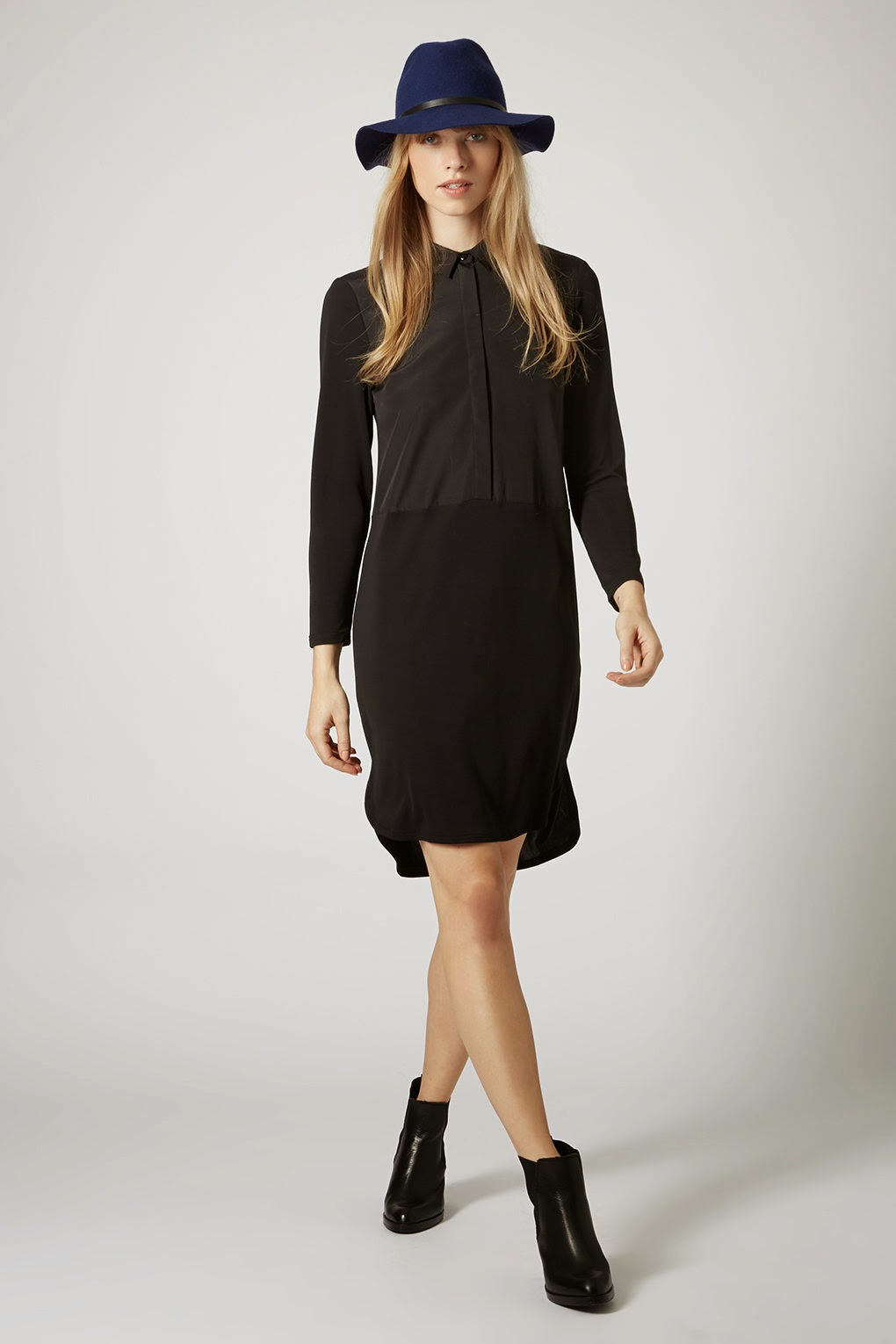 black long sleeve shirt dress