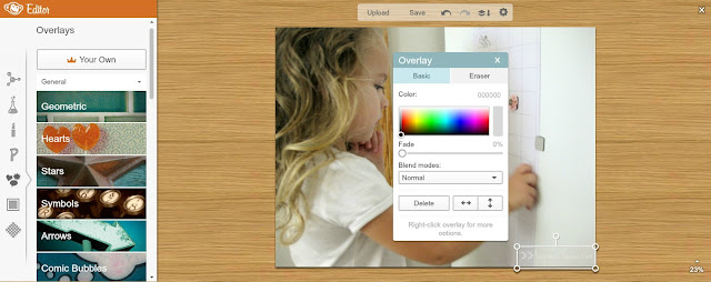 Upload photo, add watermark with transparent background as your own overlay.