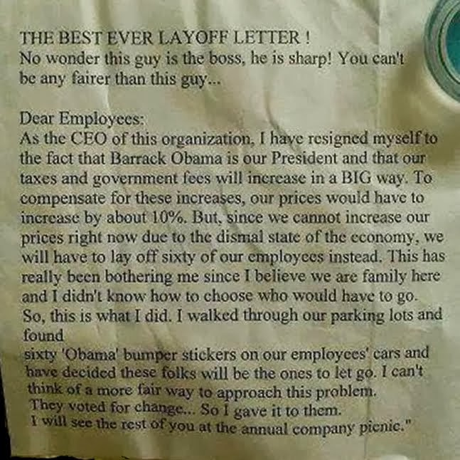 Best Layoff Letter Ever . . .