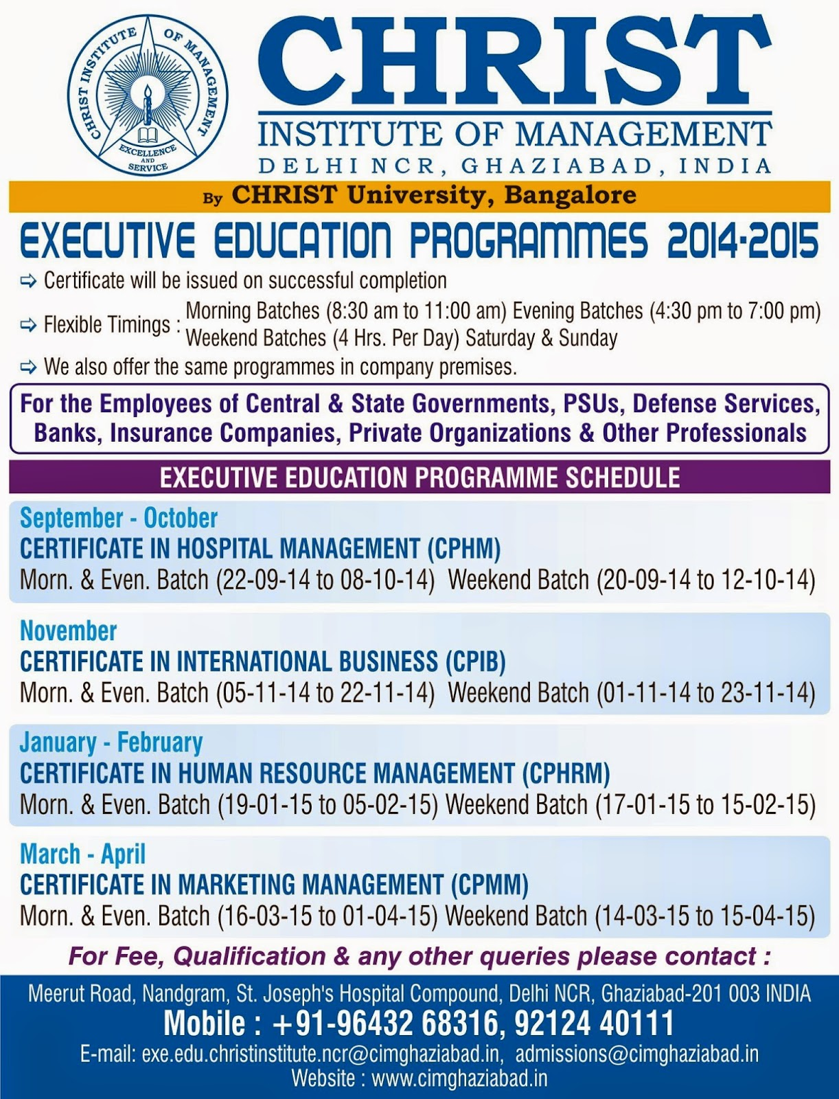 Christ Institute Of Management Admissions Open 2015 16 Christ
