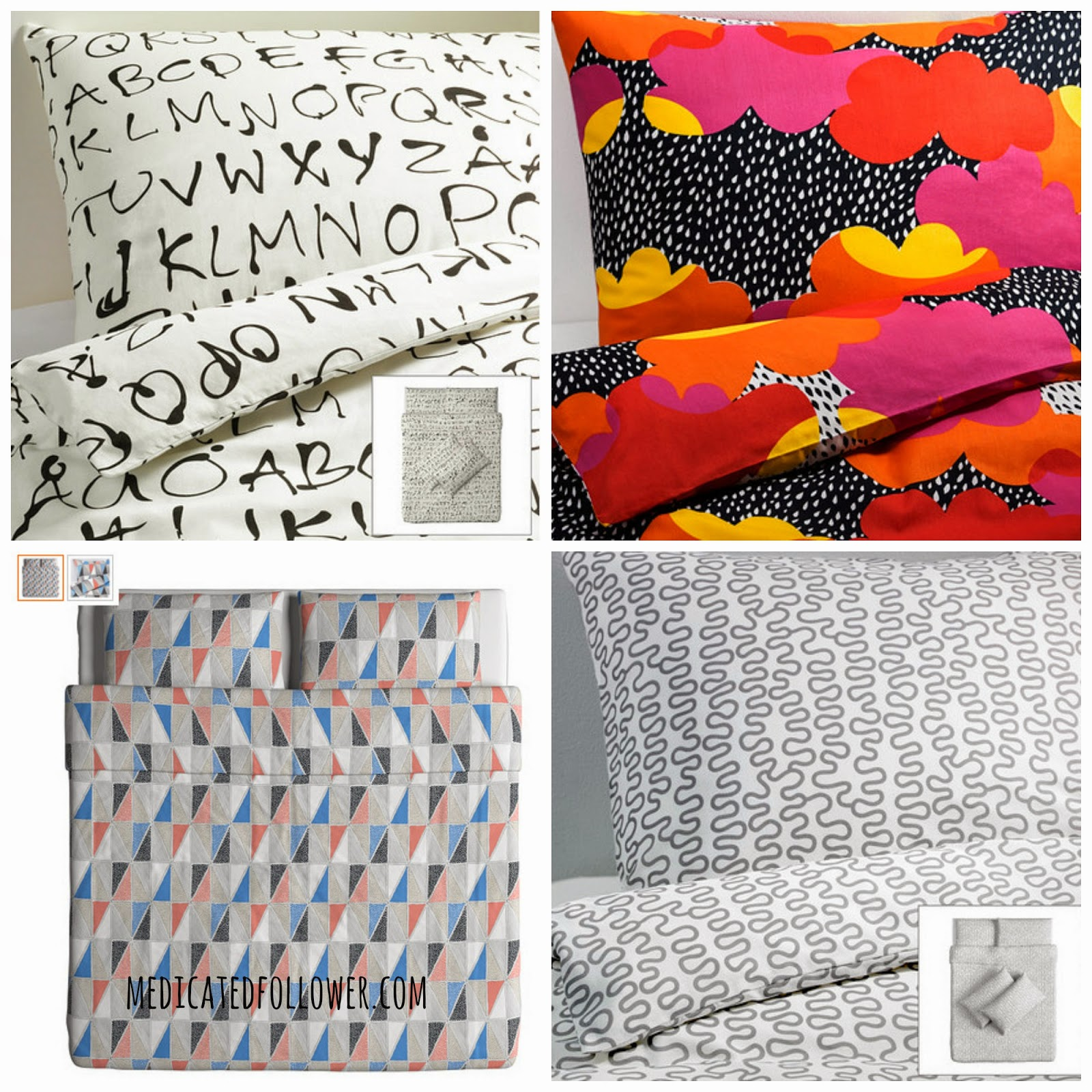 Ikea bedding covers.  Monochrome. Geometric. Medicated Follower of Fashion.  Bedding.