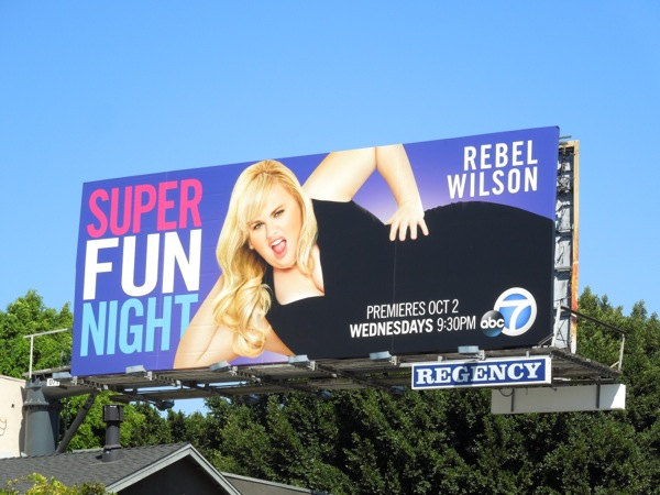 Rebel Wilson Super Fun Night series premiere billboard