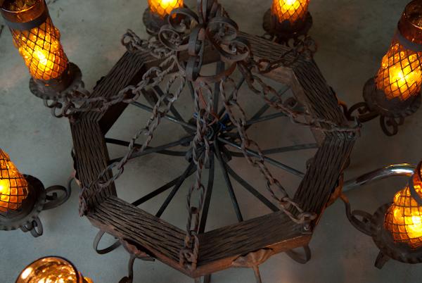 Heygreenie Wrought Iron Wooden Gothic Chandelier Jk
