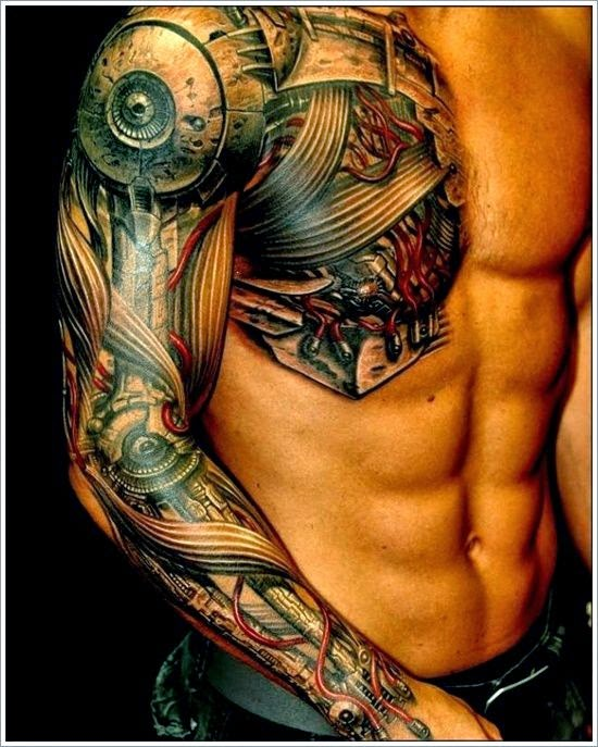 Biomechanical Tattoo Ideas For Men On Sleeve