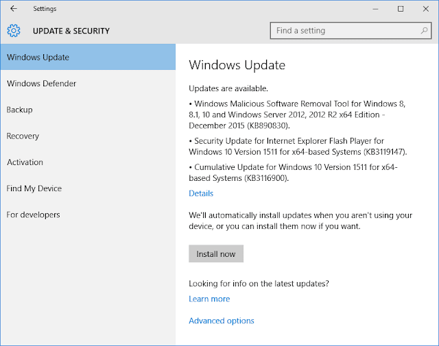 Update Baru Windows 10 Version 1511 (KB3116900)