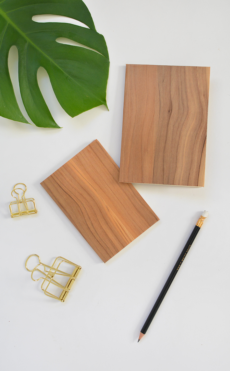 wood effect notebook DIY