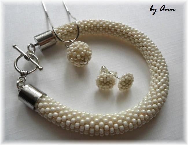 biżuteria ślubna dodatki ślubne kremowa śmietankowa z koralików ecri