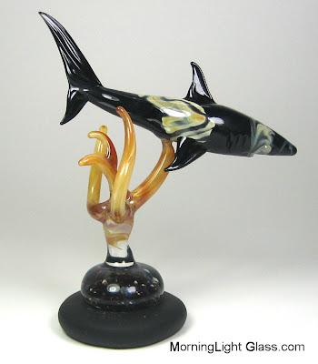 Flamework Glass Shark Art, Handmade