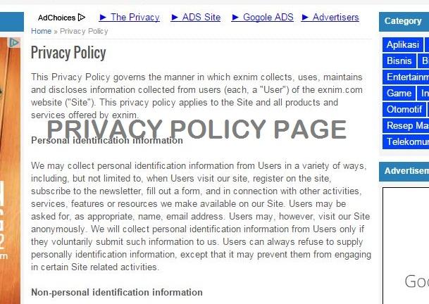 Contoh Privacy Policy di Blog dan Cara Membuatnya