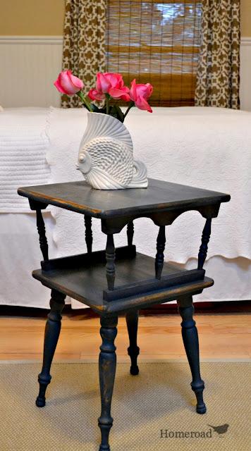 homeroad navy blue maple side table. Black Bedroom Furniture Sets. Home Design Ideas