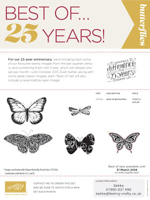 Buy the Best of Butterflies Stamp Set here £13.95 plus p&p - just email bekka@feeling-crafty.co.uk