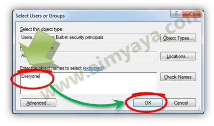 Gambar: Mengedit sekuritas file untuk grup everyone di microsoft windows seven