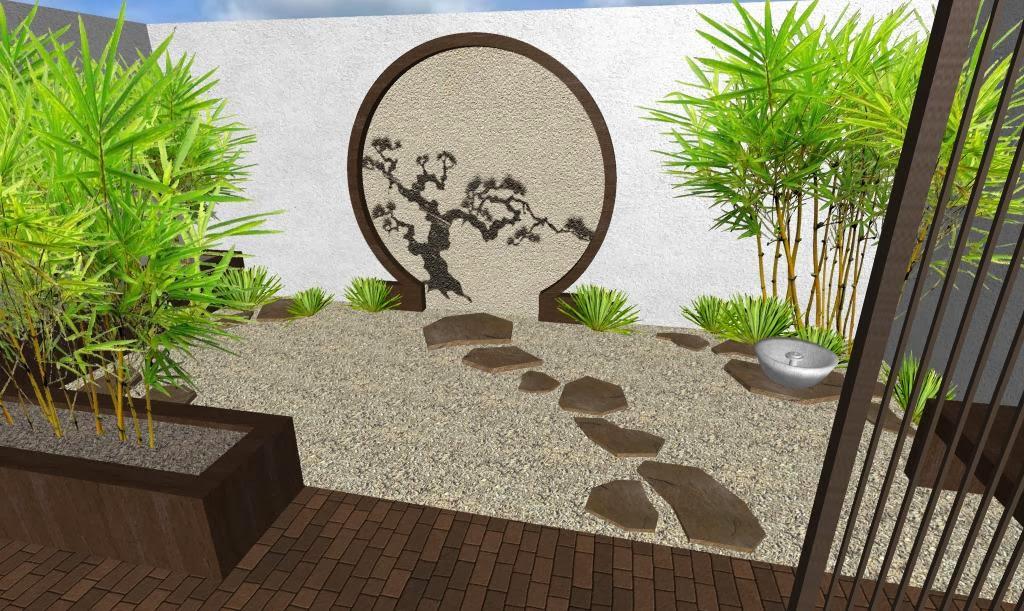 Dise o de un hermoso jard n peque o oriental japon s for Jardines minimalistas con bambu