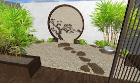propuesta 2 diseno jardin oriental - piedra - fuente - puerta - bonsai - bambu