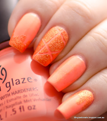China Glaze Sun of a Peach with Zoya Beatrix nail art
