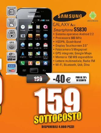 Prezzo in offerta per il Galaxy Ace smartphone android a 159 euro
