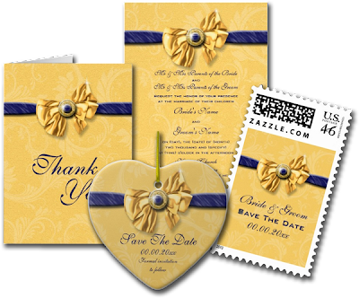 Navy Blue Yellow Wedding Elegant Custom Invite