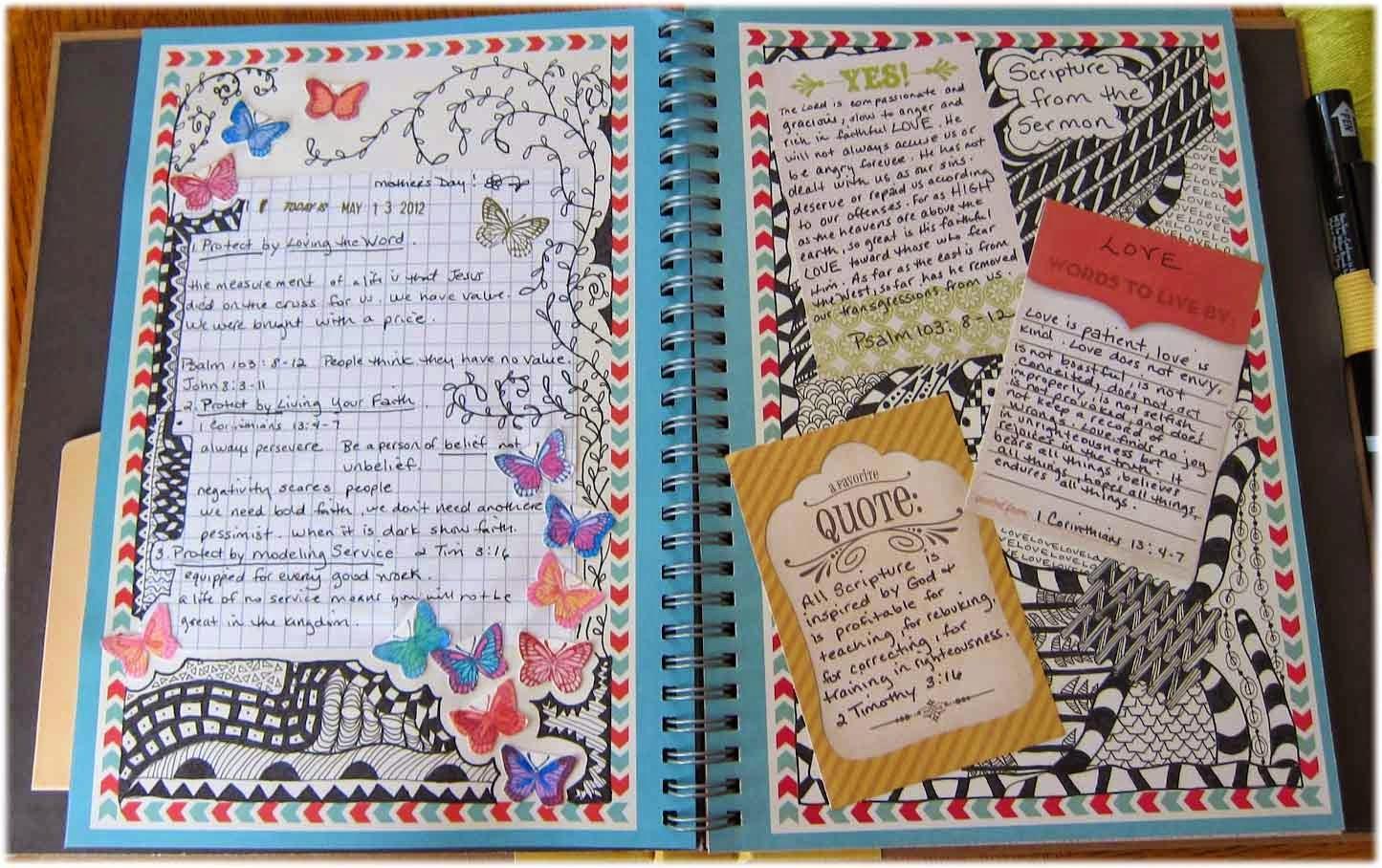 A mi manera mira como adornar tu cuaderno por dentro - Decorar album de fotos por dentro ...