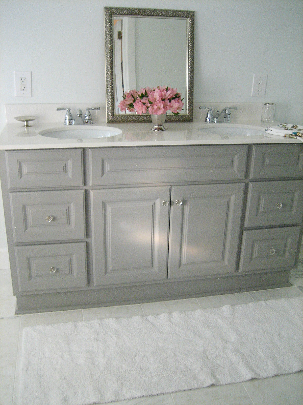 Ten june diy custom painted grey builder standard Paint bathroom cabinets