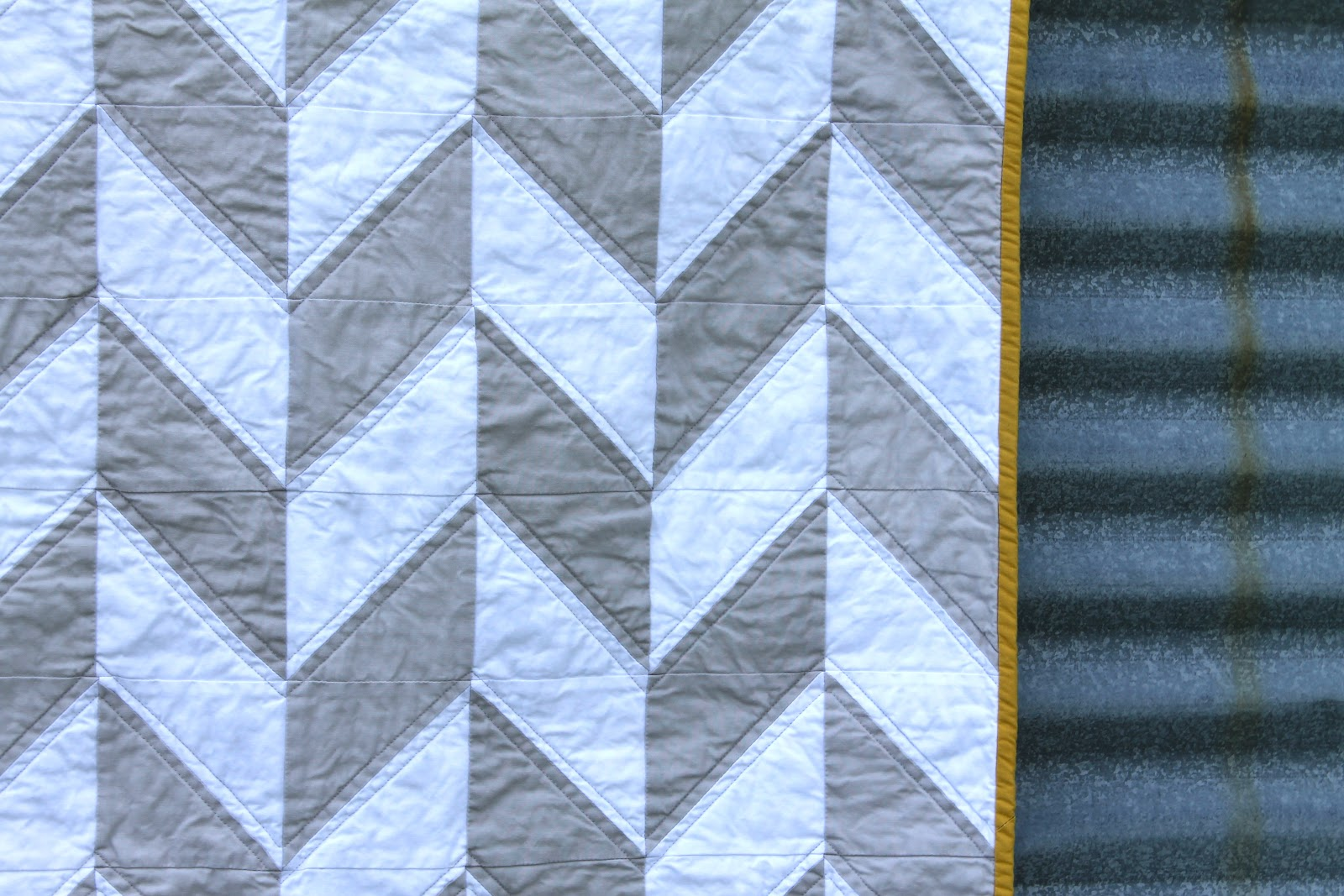 Gray White Quilt : Craftyblossom grey and white herringbone quilt