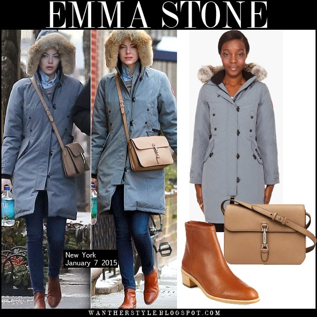 Canada Goose chilliwack parka replica discounts - WHAT SHE WORE: Emma Stone in grey fur trimmed winter parka and tan ...