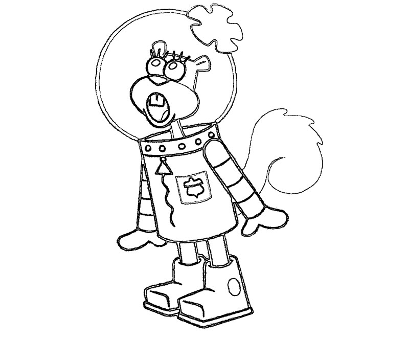 Sandy free colouring pages for Sandy cheeks coloring pages