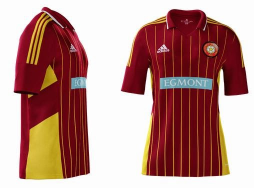 Pinstriped kit with sponsors logo and badge - Melchester Rovers 14/15