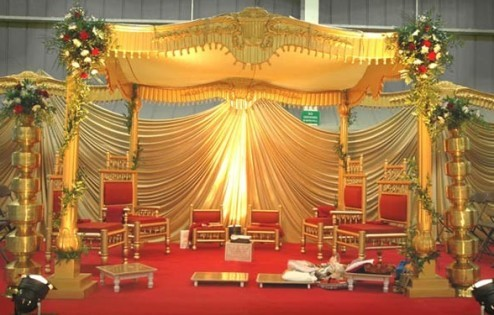 Wedding Stage decoration Golden Wedding Stage