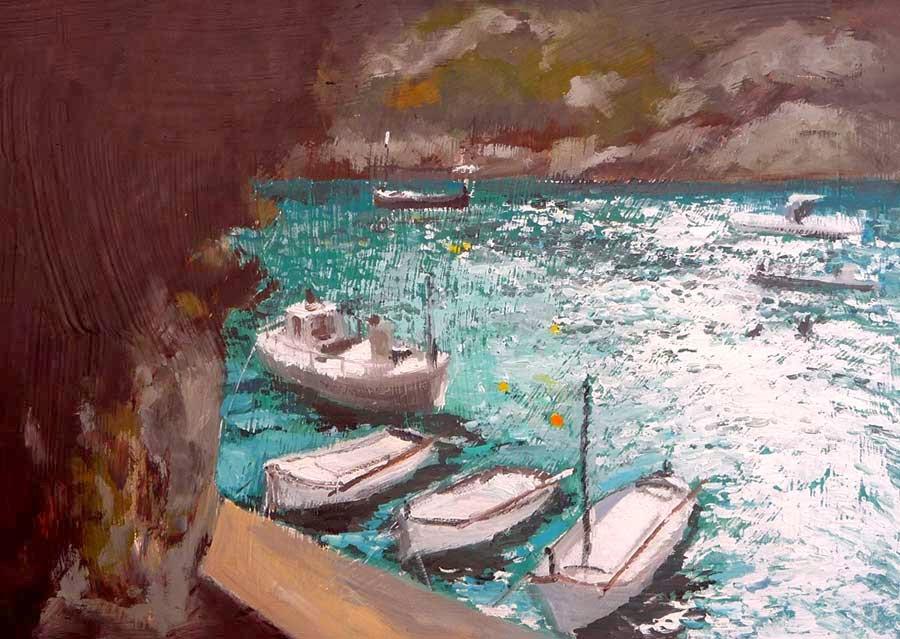 Cuadro de una marina de Menorca al oleo