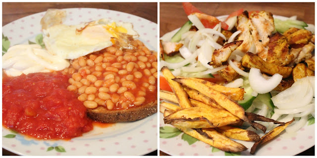 Slimming world meals - brunch toast, egg beans tomatoes & primula cheese - chicken shish kebab with sweet potato fries