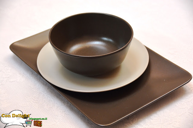 brown and white serving plates