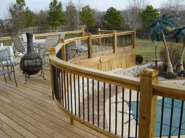 patio deck railing design curved deck railing