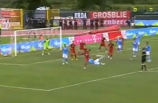 Napoli player Paolo Cannavaro scores a sublime scissor-kick against Bayern Munich