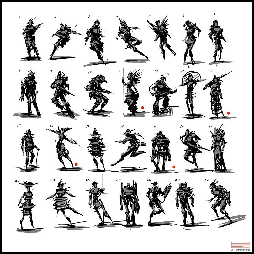Character Design Thumbnails : Mark molnar sketch of concept art and illustration