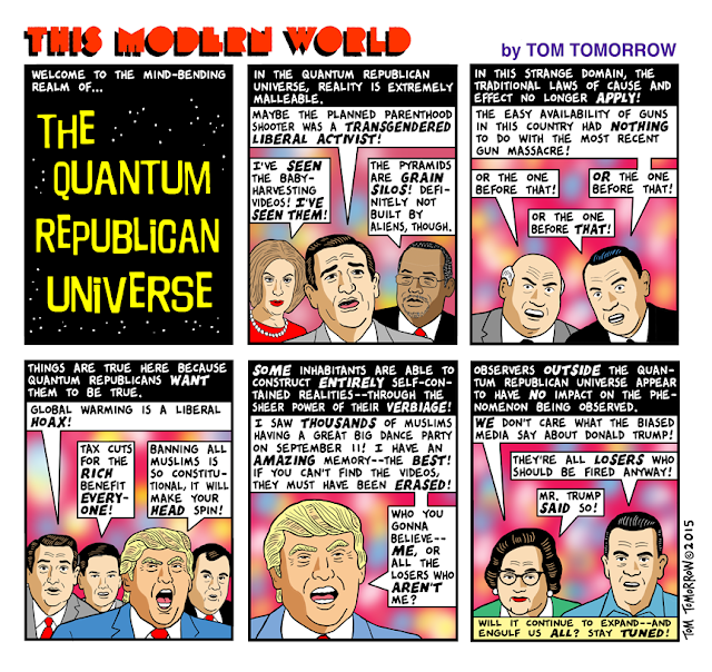 Cartoon lampooning impenetrability of the Republican news bubble and Republicans' imperviousness to facts.