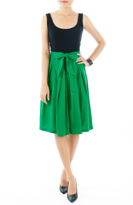Flare Circle Skirt with Bow Front in Spring Green