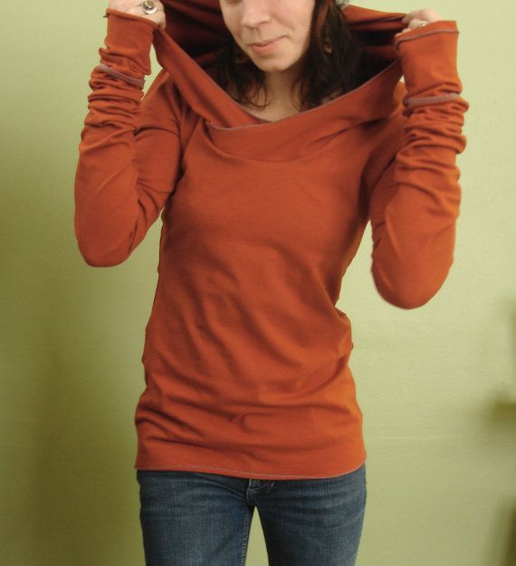 Orange nice extra long sleeved hooded top
