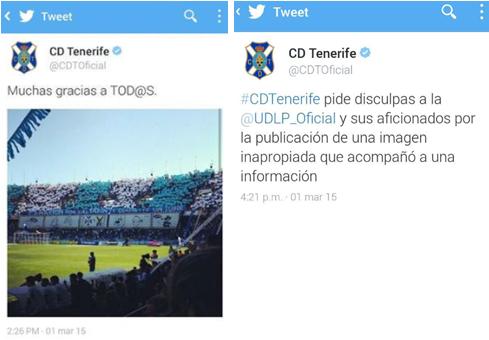 Tweet desafortunado del CD Tenerife y su rectificación