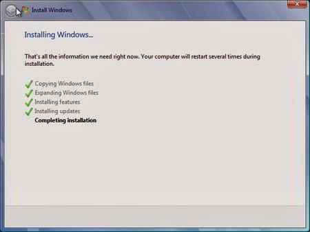 Cara Instal Windows 7 - Completing installation