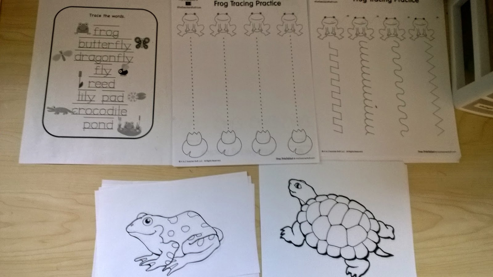 Writing Center: Pond Word Tracing, Frog To Lily Pad Tracing And Cutting,  Frog And Turtle Coloring.