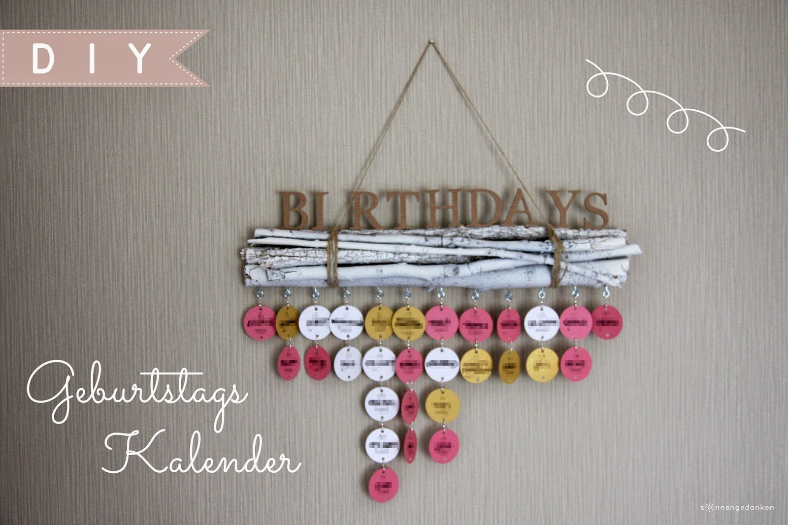 Sonnengedanken diy geburtstagskalender for Fotos pinterest
