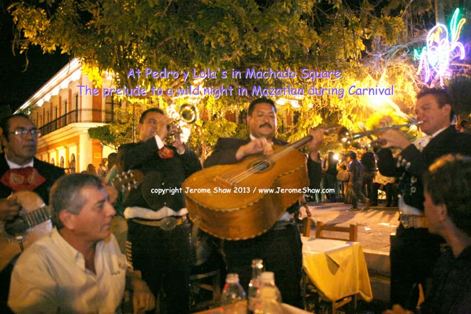Carnival at Pedro y Lola serenading musicians on Plaza Machado copyright Jerome Shaw 2013 / www.JeromeShaw.com