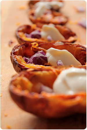 Roasted Potato Skins with Cheese and Onions