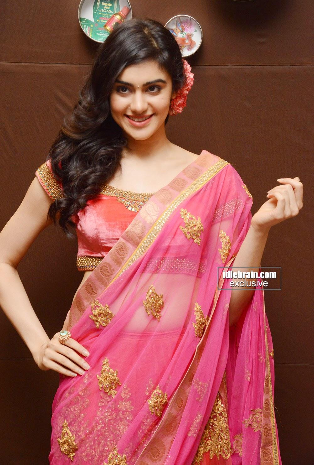 Adah Sharma pink saree