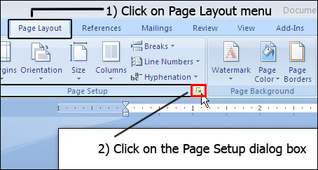 "As you will click on ""Page Setup"" dialog box a menu will ..."